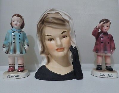 Jackie Kennedy Head Vase With John John And Caroline Figurines 1964