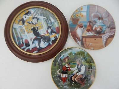 Decorative Collectable Cat Plates Hamilton Collection & Kaiser Kittens Lot of 3
