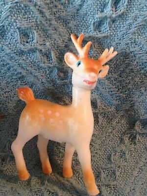 Vintag Small Brown/white Standing Plasticchristmas Fawn/reindeer W/moveable Head
