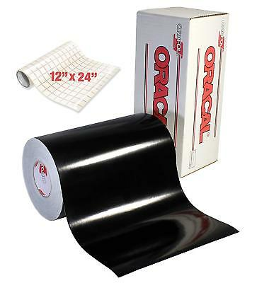 Oracle 651 Glossy Permanent Vinyl Rolls 50 x 12 Ft Black Permanent Adhesive