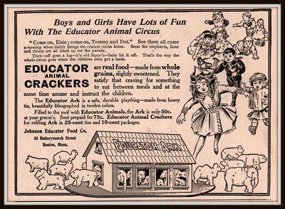 Early 1900 's  Ad Educator Animal Crackers Noahs Ark Litho Tin Plaything