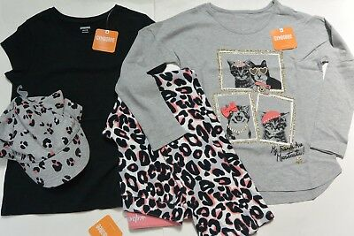 Gymboree 7/8 girls 4-PC KITTY IN PINK LS Gray & Black Tops Leopard Pants Cap NWT