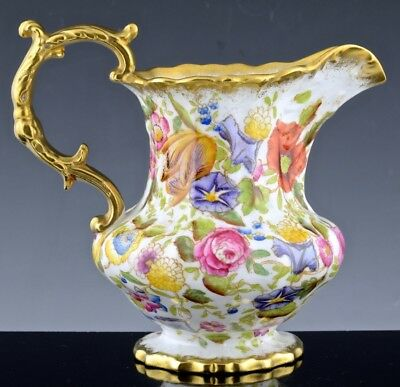 Beautiful Large Antique Hammersley Bone China Queen Anne Chintz Milk Pitcher Jug