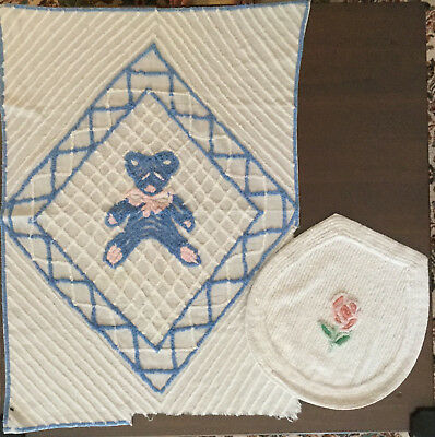 Vintage chenille-baby blanket, toilet seat cover, cutter fabric, craft project