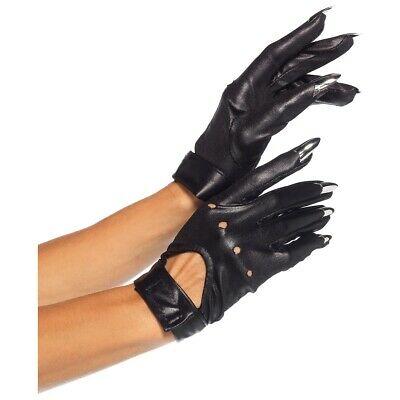 Black Cat Claw Motorcycle Gloves Adult Womens Halloween Fancy Dress Costume