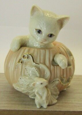 "LENOX Cat in Pumpkin with Mouse Figurine 2000 Halloween Jack o""lantern No Box"