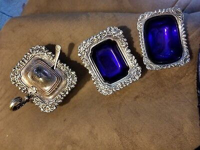antique 3 silver footed salt dish,4 pieces,1 w lid & spoon, cobalt glass inserts