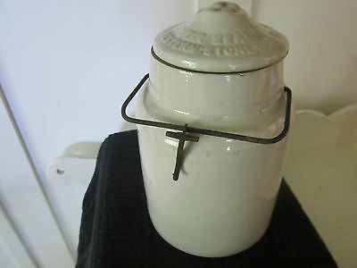 Antique beige Western stoneware crock, Monmouth Illinois, wire handle/cover