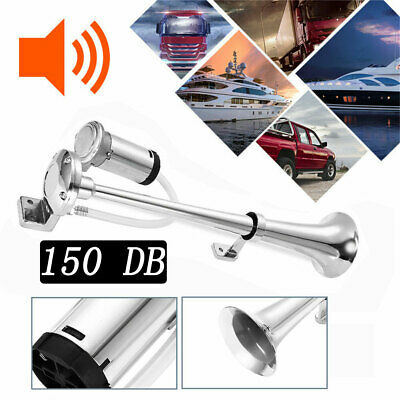 150DB Trumpet Air Horn Kit Super Loud Air Compressor Hose Car Train Lorry DC 12V
