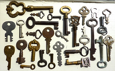 28 Assorted Vintage Antique Keys Furniture Padlock Skeleton Lock Clock Trunk Key