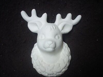 Reindeer Christmas Ornament Snowflake Star Belly *Ceramic Bisque Ready to Paint