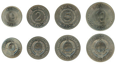 Yugoslavia 1 - 10 Dinars 4 Pieces - PCS Coin Set, 1970-1976, KM # 61-63,Mint