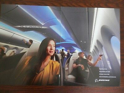 Boeing 787 Dreamliner Airplane, Two Page Print Ad, Interior