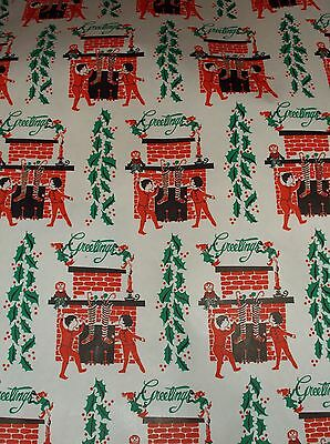 Vtg Christmas Wrapping Paper Gift Wrap 2 Yards 1950 Greetings Fireplace Stocking