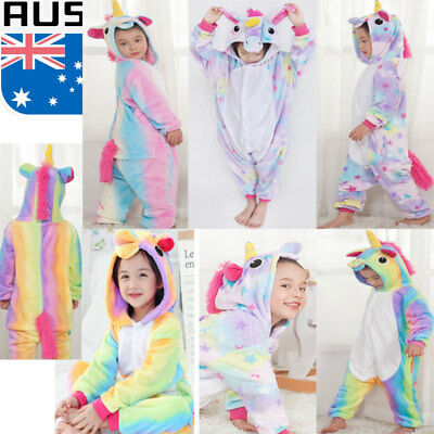Kids Rainbow Unicorn Kigurumi Animal Cosplay Costume Onesie16 Pajamas Sleepwear1