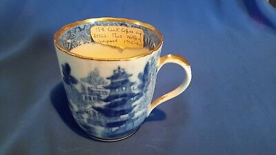 AntiqueThomas Wolfe Liverpool Porcelain coffee blue and white cup C. 1795 - 1800