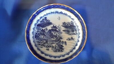Antique blue and white with 22kt gold trim saucer chinese pattern C.1790 - 1810