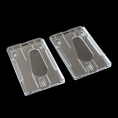 2pc Hard Plastic Badge Holder Double ID Card Transparent Vertical Card Holder