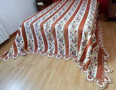 Vintage French Hand Crocheted Bed Coverlet or Curtain c.1920/30