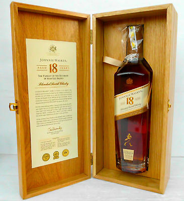 """Johnnie Walker Gold Label """"The Ultimate 18"""" Presented In Wood Coffin Box-Rare!!!"""