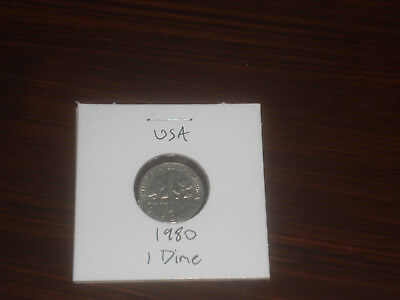 1980 USA 10 Cent coin United States of America ten cents American dime