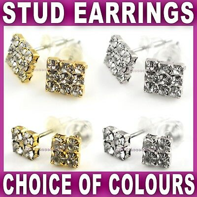 SQUARE STUD EARRINGS EAR STUDS Diamante stones GOLD SILVER tone bling crystal