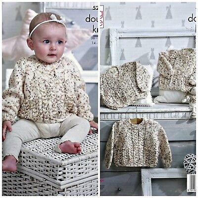 KNITTING PATTERN Baby's Cable Cardigans and Jumper Smarty DK King Cole 5235