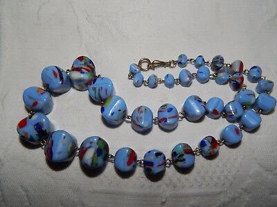 VINTAGE ART DECO CZECH SKY BLUE RAINBOW SPATTER GLASS BEAD NECKLACE ~ 1930's