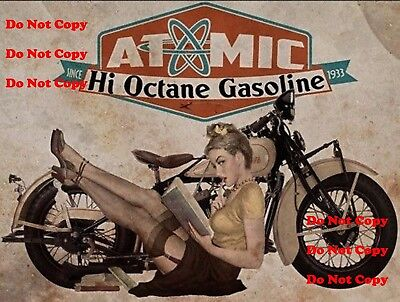 Atomic Gasoline Motorcycle Man Cave Pinup Girl 8X10 Glossy Photo Pic Picture