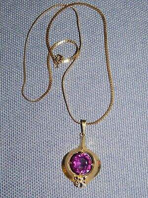 VINTAGE 1970's MODERNIST GOLD PLATED FAUX AMETHYST PENDANT ON CHAIN ~ RETRO