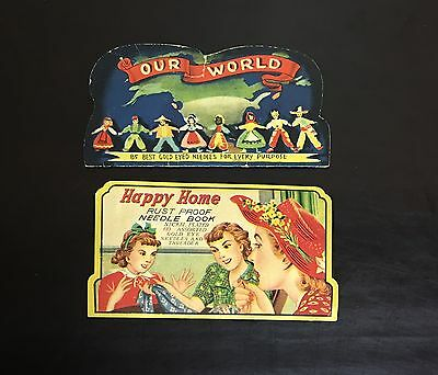 Lot of 2 Vintage Sewing Needle Books - Our World & Happy Home - Made in Japan
