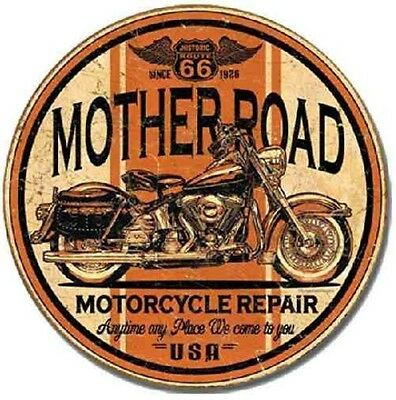 "TIN SIGN ""Mother Road Motorcycle Repair"" 12"" Round Harley METAL Art WALL DECOR"