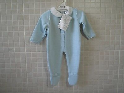 Baby Boys  Knitted Spanish Romany Style Romper Blue Newborn 0-3 m 3-6 m  6-9 m
