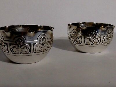 Sterling Silver 925 Pair Of Salt Cellers Stamped 1886 William.M Edinburgh OLD