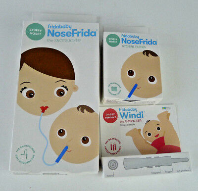 Lot Fridababy NoseFrida Snotsucker Hygiene Filters Windi Gaspasser Set