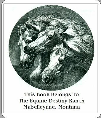 60 Personalized Ex Libris Bookplate - Vintage Horses Image FREE Shipping