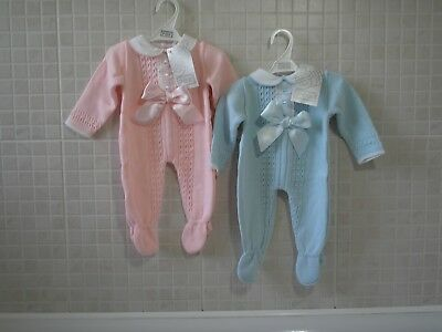 Pex Spanish style baby Boy Girl knitted Romper Bow Blue Pink Newborn 0-3 3-6 6-9