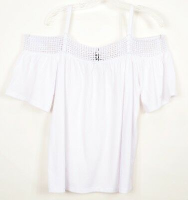 03545dbfadd8bd Cable   Gage NWT L White Cold Shoulder Tunic Top Short Sleeve Lace Texture  RP 70