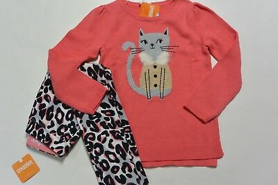 Gymboree 10/12 girls 2-PC KITTY IN PINK Coral Kitty Sweater & Leopard Pants NWT