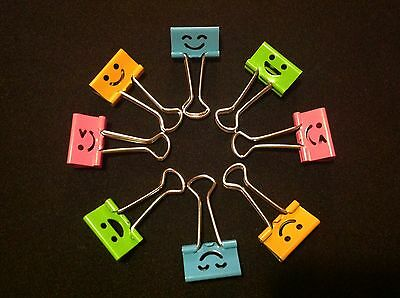 8x SMILEY Foldback Klammern 19mm, Binder Clips