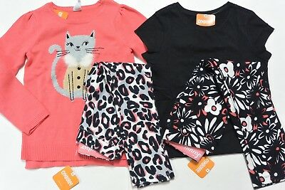 Gymboree 5/6 girls 4-PC KITTY IN PINK Coral Sweater 5/6 Two Pants 5 Top 5/6 NWT