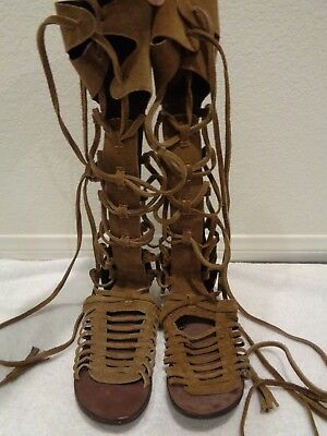 dace32d7594 Free People Women s Sandals Sun Seeker Brown Suede Gladiator Lace Up Shoe  38 7.5