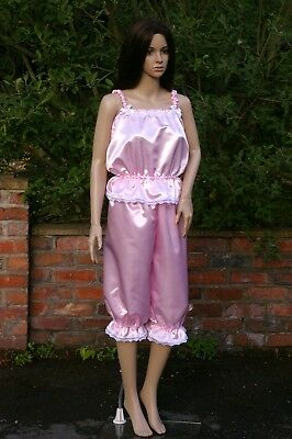 Pink satin Victorian bloomers and camisole size 10-12 costume fancy dress