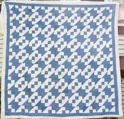 """Blue and White Antique Quilt with Red """"Jacob's Ladder"""",Double Borders, #18328"""