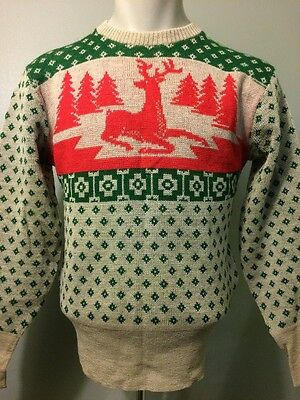 Vtg 30s 40s 50s Knit Wool Ski Sweater Mens M Holiday Winter Party Green Red Deer