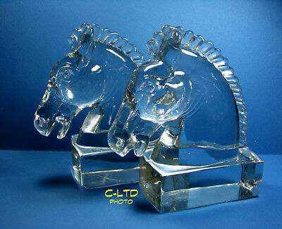 Vintage HEISEY Crystal Animal FIGURINE : Pair HORSEHEAD Bookends ... Pretty Set!