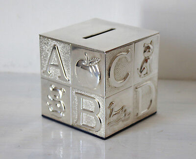 Vintage Look ABC Alphabet Cube Money Box Piggy Bank Christening Gift