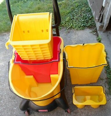 Mop Bucket and Wringer, Yellow ,Rubbermaid, 8.75 Gallon