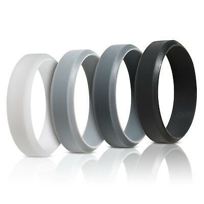 Saco Band Beveled Silicone Men's Rings 4 Pack Size 8 New in Sealed Package