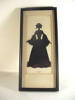 "Lot#1 Antique Framed Silhouette Victorian Lady 1800""s Period Dress Fan Xvi: 12+"""